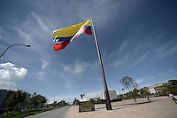 BOGOTÁ-COLOMBIA-11-01-2013. Bandera de Colombia en el Centro Administrativo Nacional, CAN, Bogotá./ Colombian flag in the National Administrative Center, CAN, Bogotá.   Photo: VizzorImage/STR