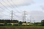 Pylons carrying high voltage electrical cables over countryside, Wickham Market, Suffolk, England, UK