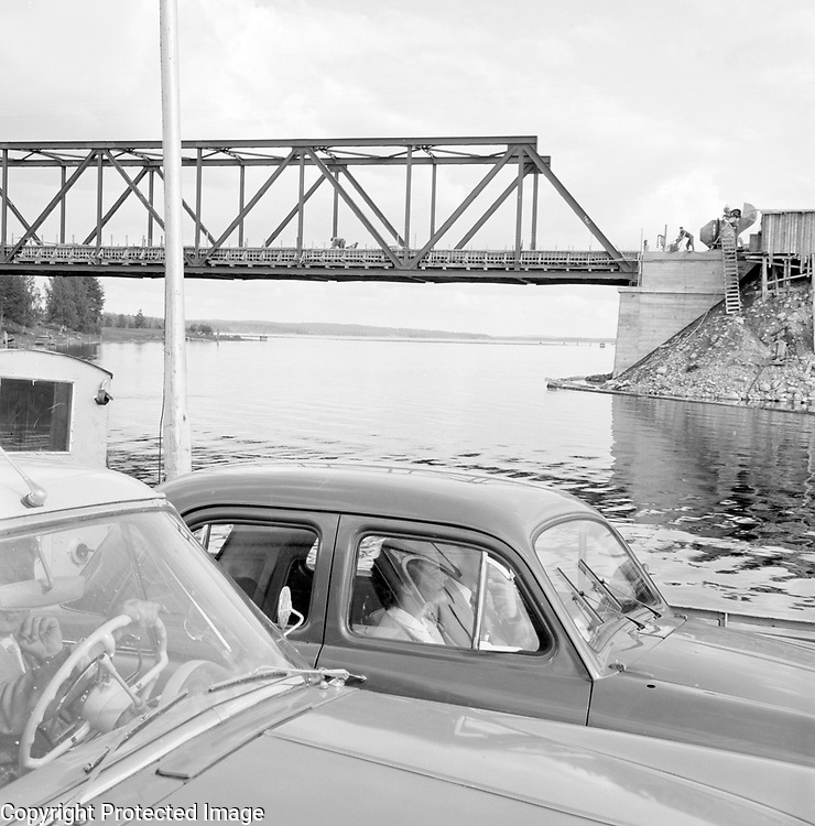 Car ferry with bridge under construction Finland 1959
