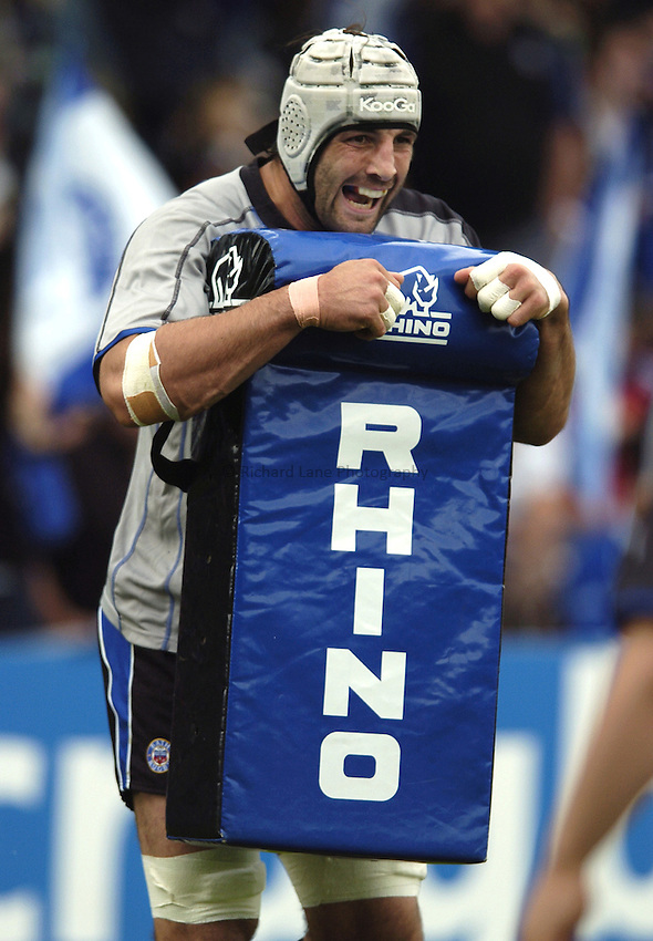 Photo: Jonathan Butler..Bath Rugby v Clermont Auvergne. European Challenge Cup Final. 19/05/2007..Danny Grewcock of Bath braces himself with a Rhino tackle bag.