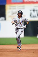 Akron RubberDucks second baseman Todd Hankins (8) runs the bases after hitting a home run during the second game of a doubleheader against the Bowie Baysox on June 5, 2016 at Prince George's Stadium in Bowie, Maryland.  Bowie defeated Akron 12-7.  (Mike Janes/Four Seam Images)