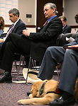 Nevada Sen. James Settelmeyer, R-Minden, presents a bill that would allow dogs in bars at the Legislative Building in Carson City, Nev., on Monday, Feb. 16, 2015. <br /> Photo by Cathleen Allison