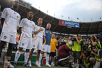 Los Angeles Galaxy bench during the singing of the National Anthem. DC United defeated the Los Angeles Galaxy 1-0 at RFK Stadium in Washington DC, Thursday August 9, 2007.