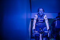 Ellen van Dijk (NED/Trek-Segafredo) in the 'show-tunnel' leading into the 'Kuipke' velodrome where the team presentation takes place<br /> <br /> Omloop Het Nieuwsblad 2019 <br /> Gent to Ninove (BEL):  123km<br /> <br /> ©kramon