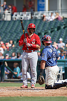 Springfield Cardinals Jose Godoy (27) talks with catcher Tony Sanchez while batting during a Texas League game against the Frisco RoughRiders on May 5, 2019 at Dr Pepper Ballpark in Frisco, Texas.  (Mike Augustin/Four Seam Images)