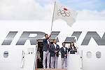 (L-R) Keisuke Ushiro, Yasuhiro Yamashita, Yuji Takada, Saori Yoshida (JPN), <br /> AUGUST 24, 2016 : The Olympic flag welcoming ceremony at Haneda Airport in Tokyo, Japan. The Olympic flag was passed to new Tokyo governor Yuriko Koike from IOC President at the Rio de Janeiro 2016 Olympic Games closing ceremony on August 21. Tokyo will host the 2020 Olympic Games. (Photo by AFLO SPORT)