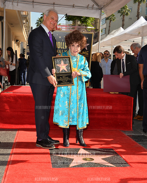 Gina Lollobrigida &amp; Jeff Zarrinnam at the Hollywood Walk of Fame Star Ceremony honoring actress Gina Lollobrigida, Los Angeles, USA 01 Feb. 2018<br /> Picture: Paul Smith/Featureflash/SilverHub 0208 004 5359 sales@silverhubmedia.com