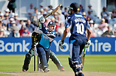 CB40 Cricket - Notts Outlaws V Scottish Saltires - Trent Bridge Nottingham - Salitires' overseas pro Jean Symes in batting action early in the innings before being run out James Taylor for 34 - 22.7.12 - 07702 319 738 - clanmacleod@btinternet.com - www.donald-macleod.com