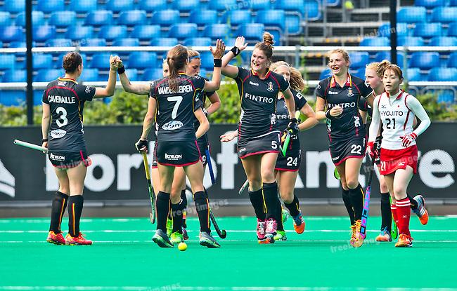02/07/2015<br /> HWL Semi Final Antwerp Belgium 2015<br /> Japan v Belgium Women<br /> Goal to Belgium -Stephanie de Groof<br /> Photo: Grant Treeby