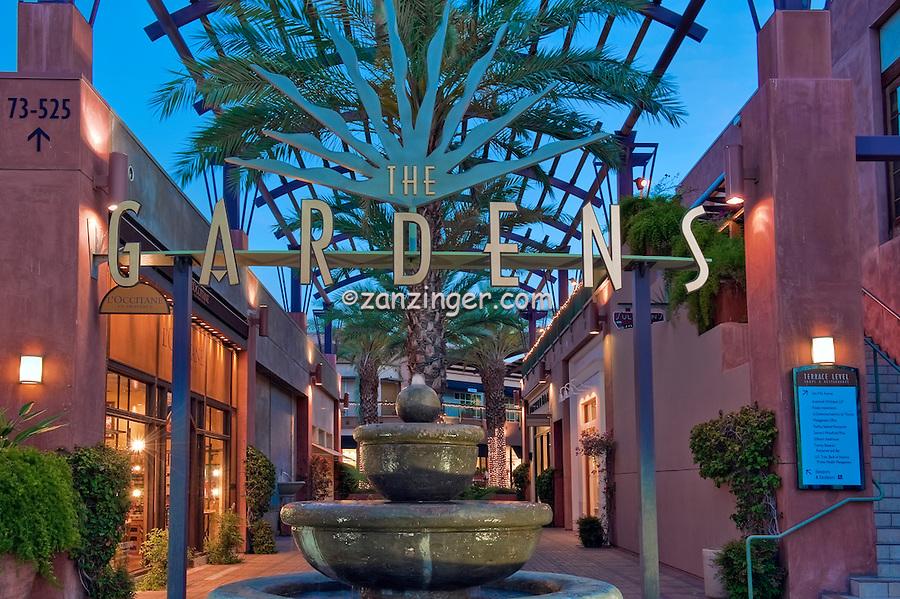 The Gardens, El Paseo Drive, Palm Desert, CA, Boutiques; famous; retailers; fashion; haute couture, Restaurants, ; shopping; Mannequins; near Palm Springs; Palm Trees; California; Coachella Valley; Desert;