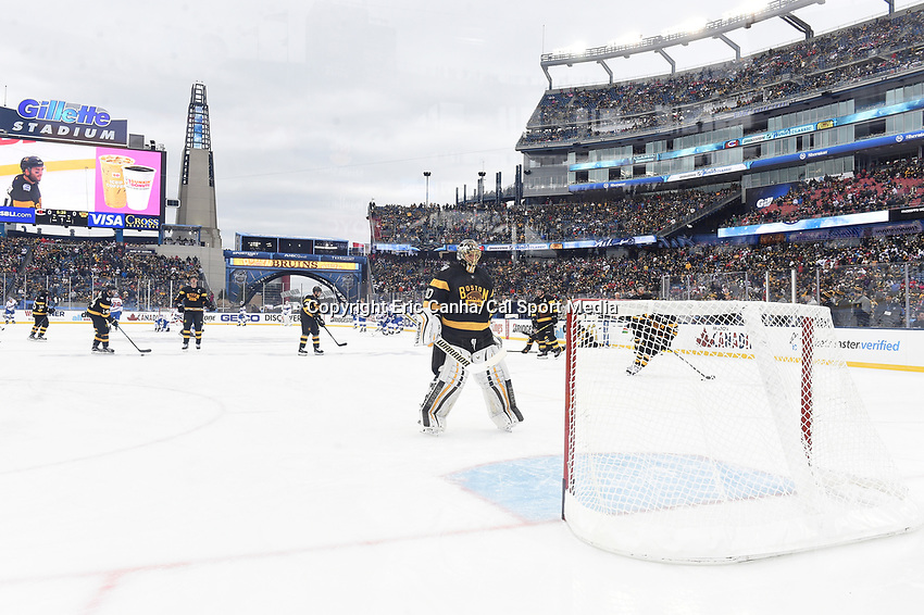 Friday January 1, 2016: Boston Bruins goalie Tuukka Rask (40) heads for the net during the warmup perios at the National Hockey League Bridgestone Winter Classic game between the Montreal Canadiens and the Boston Bruins, held at Gillette Stadium in Foxborough, Massachusetts. Montreal defeats Boston 5-1 in regulation time. Eric Canha/CSM