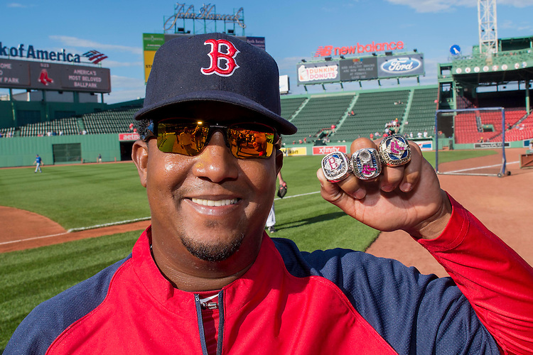 May 20, 2014, Boston, MA:<br /> Former Boston Red Sox pitcher Pedro Martinez displays the 2004, 2007, and 2013 World Series rings to promote the Red Sox Foundation Ring Raffle Tuesday, May 21, 2014 at Fenway Park in Boston, Massachusetts.<br /> (Photo by Billie Weiss/Boston Red Sox)