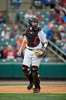 Rochester Red Wings catcher Wynston Sawyer (16) during an International League game against the Buffalo Bisons on May 31, 2019 at Frontier Field in Rochester, New York.  Rochester defeated Buffalo 5-4 in ten innings.  (Mike Janes/Four Seam Images)