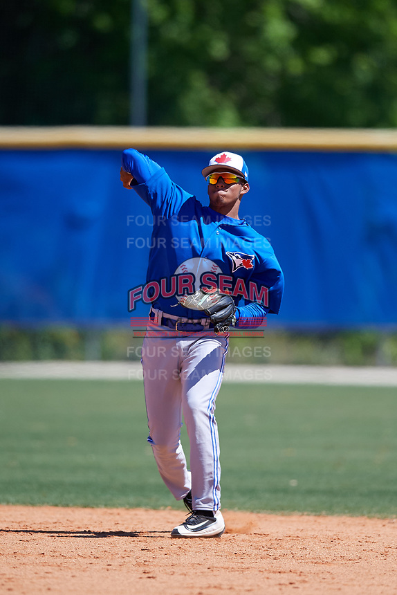 Toronto Blue Jays Leonardo Jimenez (52) during a Minor League Spring Training Intrasquad game on March 14, 2018 at Englebert Complex in Dunedin, Florida.  (Mike Janes/Four Seam Images)