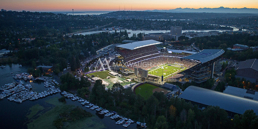 """This photo was taken on Opening Night at the new Husky Stadium, during the game against the Boise State Broncos on August 31, 2013.<br /> <br /> This image is available as a Limited Edition metallic print measuring 30"""" x 15"""" (select the metallic print from the price options when you add to cart).  You may also purchase smaller lustre prints or license it for commercial use.<br /> <br /> *No, the watermark will not appear on the final image!"""