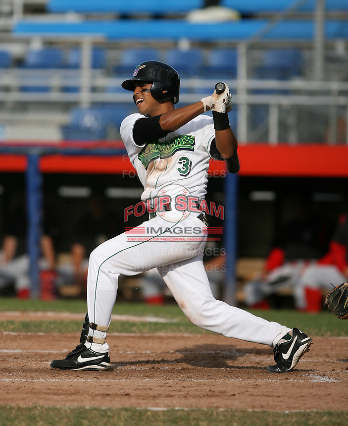 Carlos Piste of the Jamestown Jammers, Class-A affiliate of the Florida Marlins, during New York-Penn League baseball action.  Photo by Mike Janes/Four Seam Images