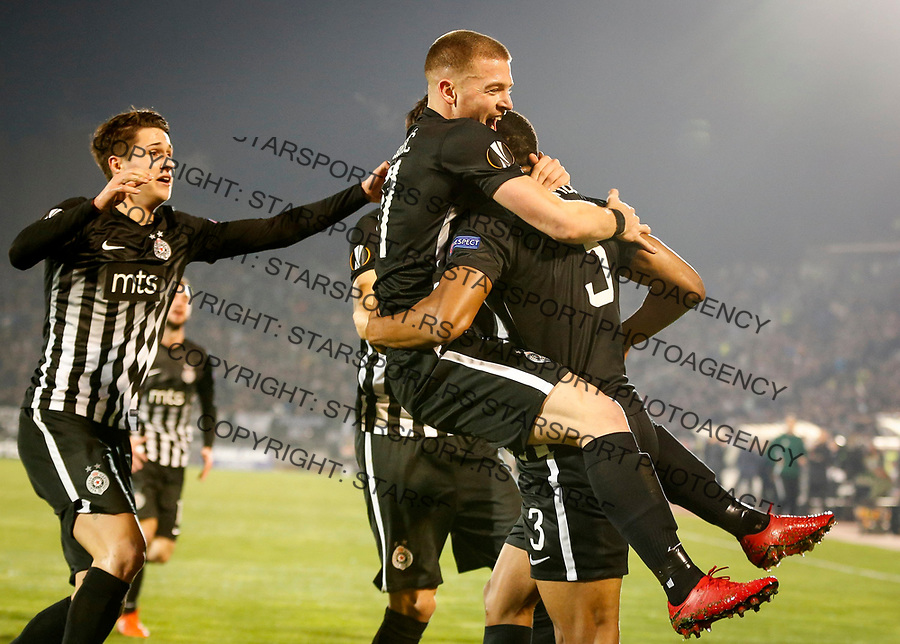 Fudbal UEFA Europa League Group B season 2017-201<br /> Partizan v Young Boys<br /> Leandre Tawamba (R) celebrates scoring a goal with the Ognjen Ozegovic (C) and Danilo Pantic (L)<br /> Beograd, 23.11.2017.<br /> foto: Srdjan Stevanovic/Starsportphoto &copy;