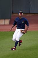 Cedar Rapids Kernels outfielder J.D. Williams (17) tracks down a fly ball during a game against the Quad Cities River Bandits on August 18, 2014 at Perfect Game Field at Veterans Memorial Stadium in Cedar Rapids, Iowa.  Cedar Rapids defeated Quad Cities 4-2.  (Mike Janes/Four Seam Images)