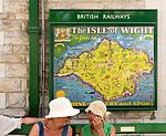 Vintage British Railways rail advertising poster, Swanage railway station, Dorset, England, UK