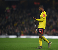 1st January 2020; Vicarage Road, Watford, Hertfordshire, England; English Premier League Football, Watford versus Wolverhampton Wanderers;  Christian Kabasele of Watford is sent off - Strictly Editorial Use Only. No use with unauthorized audio, video, data, fixture lists, club/league logos or 'live' services. Online in-match use limited to 120 images, no video emulation. No use in betting, games or single club/league/player publications