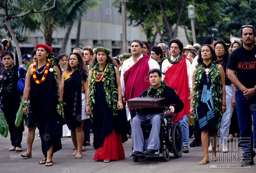 "observance of 100th anniversary of overthrow of the Hawaiian monarchy/""Onipa'a;"" march to Iolani Palace, Honolulu, Hawaii.1-17-93"