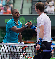ANDY MURRAY (GBR), DONALD YOUNG (USA)<br /> <br /> Tennis - MIAMI OPEN 2015 - ATP 1000 - WTA Premier -  Crandon park Tennis Centre  - Miami - United States of America - 2015<br /> &copy; AMN IMAGES