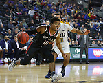 SIOUX FALLS, SD - MARCH 8: Ayo Akinwole #10 of the Nebraska-Omaha Mavericks drives to the basket against Kevin Obanor #0 of the Oral Roberts Golden Eagles at the 2020 Summit League Basketball Championship in Sioux Falls, SD. (Photo by Richard Carlson/Inertia)