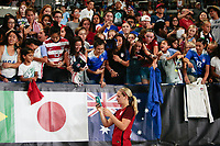 Carson, CA - Thursday August 03, 2017: Lindsey Horan, fans after the 2017 Tournament of Nations match between the women's national teams of the United States (USA) and Japan (JPN) at the StubHub Center.
