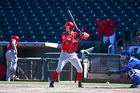 Cincinnati Reds catcher Morgan Lofstrom (34) at bat during an Instructional League game against the Kansas City Royals on October 2, 2017 at Surprise Stadium in Surprise, Arizona. (Zachary Lucy/Four Seam Images)