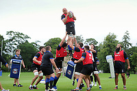 Matt Garvey of Bath Rugby wins the ball at a lineout. Bath Rugby pre-season training session on July 28, 2017 at Farleigh House in Bath, England. Photo by: Patrick Khachfe / Onside Images