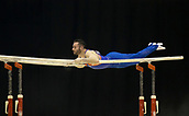 21st March 2018, Arena Birmingham, Birmingham, England; Gymnastics World Cup, day one, mens competition; James Hall (GBR) on the Parallel Bars during his competition routine