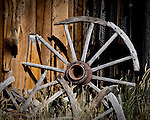 Wagon wheel in Bannack, Montana.