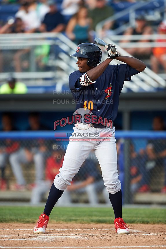State College Spikes left fielder Vincent Jackson (40) at bat during a game against the Batavia Muckdogs on June 22, 2016 at Dwyer Stadium in Batavia, New York.  State College defeated Batavia 11-1.  (Mike Janes/Four Seam Images)