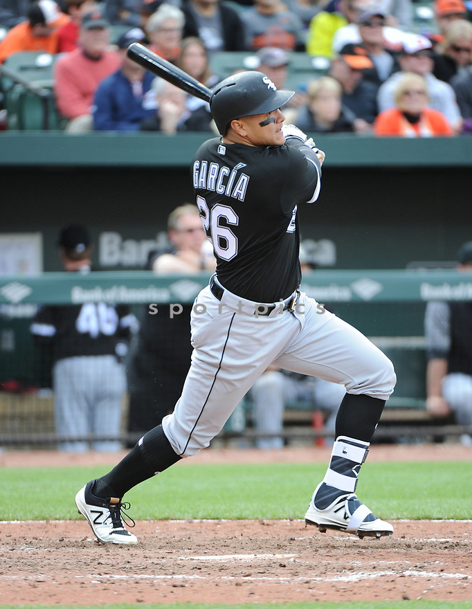 BALTIMORE, MD - May 7, 2017:  Avasail Garcia #26 of the Chicago White Sox during a game against the Baltimore Orioles on May 7, 2017 at Oriole Park at Camden Yards in Baltimore, MD. The Orioles beat the White Sox 4-0.(Chris Bernacchi/ SportPics)