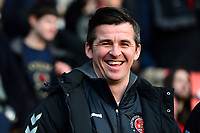 Fleetwood Town manager Joey Barton laughs<br /> <br /> Photographer Richard Martin-Roberts/CameraSport<br /> <br /> The EFL Sky Bet League One - Fleetwood Town v Doncaster Rovers - Wednesday 26th December 2018 - Highbury Stadium - Fleetwood<br /> <br /> World Copyright © 2018 CameraSport. All rights reserved. 43 Linden Ave. Countesthorpe. Leicester. England. LE8 5PG - Tel: +44 (0) 116 277 4147 - admin@camerasport.com - www.camerasport.com
