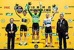Peter Sagan (SVK) Bora-Hansgrohe wins with Tour de France Champion Geraint Thomas (WAL) Team Sky in 2nd place and European Champion Matteo Trentin (ITA) Mitchelton-Scott 3rd on the podium at the end of the 2018 Shanghai Criterium, Shanghai, China. 17th November 2018.<br /> Picture: ASO/Alex Broadway | Cyclefile<br /> <br /> <br /> All photos usage must carry mandatory copyright credit (&copy; Cyclefile | ASO/Alex Broadway)