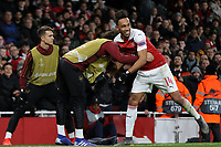 Pierre-Emerick Aubameyang of Arsenal celebrates scoring their third goal with substitute, Matteo Guendouzi during during Arsenal vs Rennes, UEFA Europa League Football at the Emirates Stadium on 14th March 2019
