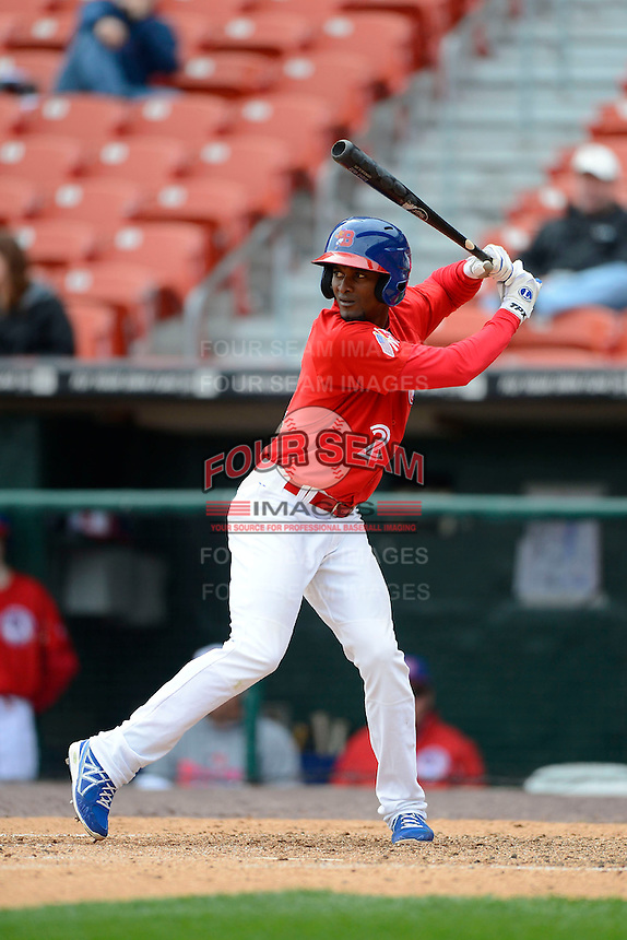 Buffalo Bisons second baseman Eugenio Velez #2 during the second game of a doubleheader against the Pawtucket Red Sox on April 25, 2013 at Coca-Cola Field in Buffalo, New York.  Buffalo defeated Pawtucket 4-0.  (Mike Janes/Four Seam Images)
