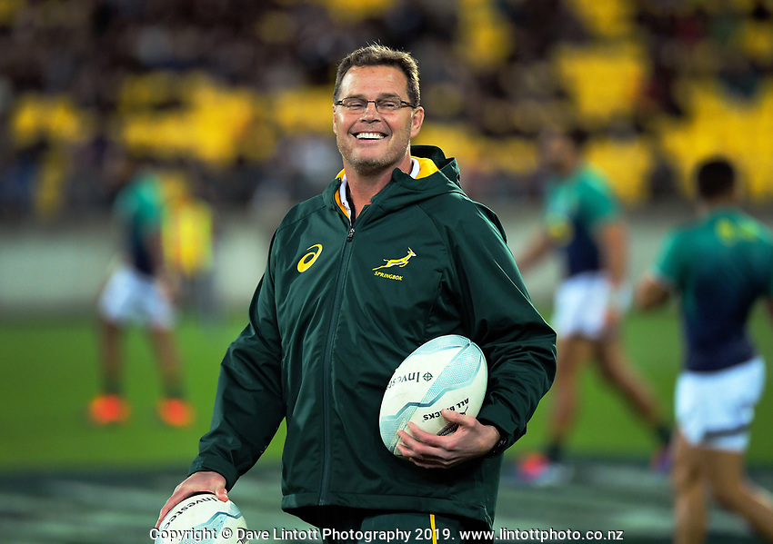 Springboks head coach Rassie Erasmus during the Rugby Championship rugby union match between the New Zealand All Blacks and South Africa Springboks at Westpac Stadium in Wellington, New Zealand on Saturday, 27 July 2019. Photo: Dave Lintott / lintottphoto.co.nz