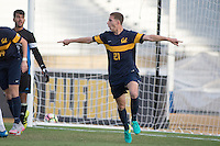 BERKELEY, CA - Oct. 13, 2016: Cal's (21) Joshua Craig Morton celerbrates scoring a goal.  Cal Men's Soccer played UCLA on Goldman Field at Edwards Stadium.