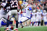 Sunday, October 2, 2016: Buffalo Bills kicker Dan Carpenter (2) kicks the ball during the NFL game between the Buffalo Bills and the New England Patriots held at Gillette Stadium in Foxborough Massachusetts. Buffalo defeats New England 16-0. Eric Canha/Cal Sport Media