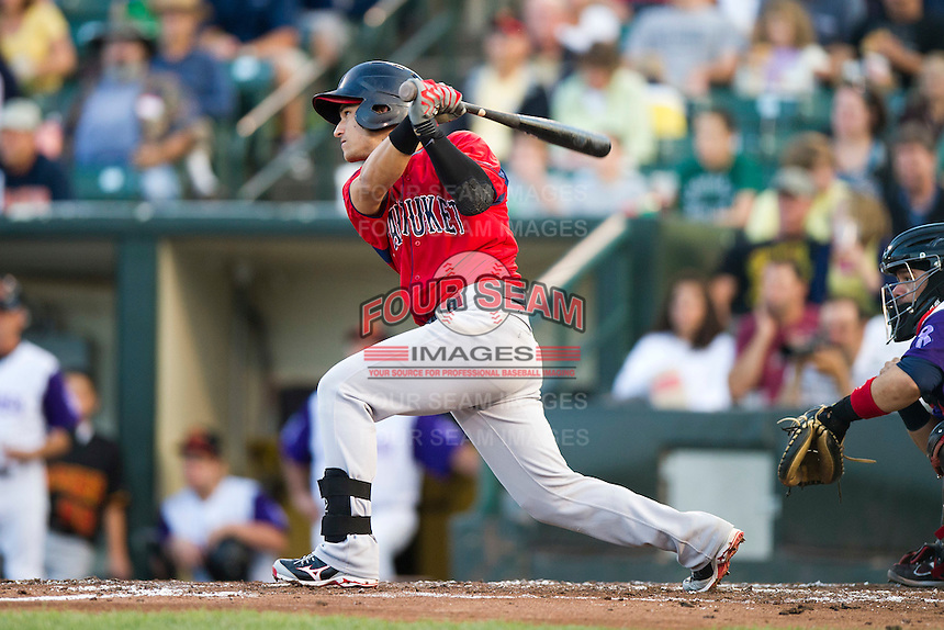 Pawtucket Red Sox shortstop Jose Iglesias #10 during an International League game against the Rochester Red Wings at Frontier Field on August 11, 2012 in Rochester, New York.  Rochester defeated Pawtucket 5-3.  (Mike Janes/Four Seam Images)