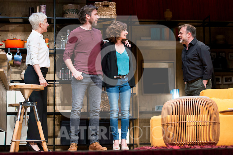Eva Hache, Andrew Tarbet, Maria Lanau and Xavi Mira during theater play of &quot;Los vecinos de arriba&quot; at Teatro Circulo de Bellas Artes in Madrid, April 25, 2017. Spain.<br /> (ALTERPHOTOS/BorjaB.Hojas)