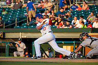 Travis Harrison (17) of the Chattanooga Lookouts bats during a game between the Jackson Generals and Chattanooga Lookouts at AT&T Field on May 7, 2015 in Chattanooga, Tennessee. (Brace Hemmelgarn/Four Seam Images)