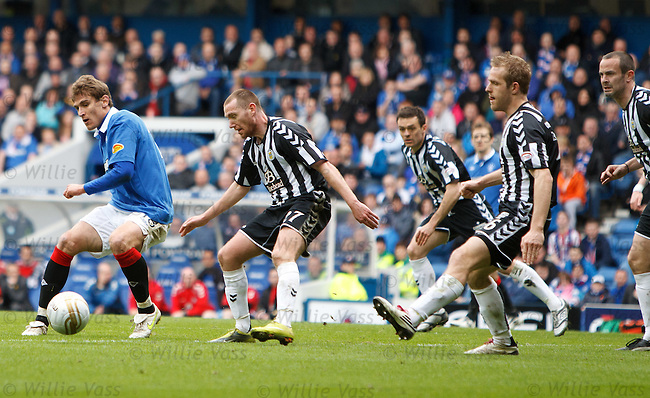 Nikica Jelavic pivots, turns and goes past four St Mirren defenders