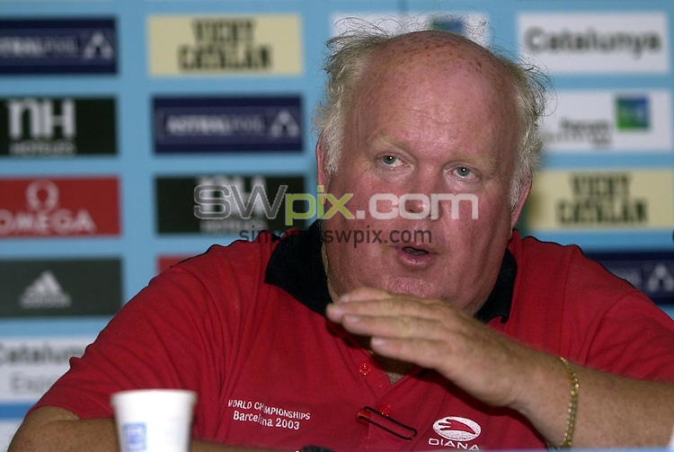 Pix: Matthew Lewis/SWpix.com. Swimming. 10th Fina World Championships 2003, Barcelona. 17/07/2003...COPYRIGHT PICTURE>>SIMON WILKINSON>>01943 436649>>..Great Britain's Bill Sweetenham during a press conference to the media today.