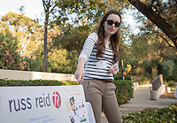 Occidental College student Lauren Rewers '16 shares her InternLA experience working at Russ Reid during the Career Development Center's Reverse Career Fair, Thorne Hall patio, Sept. 3, 2015.<br /> (Photo by Marc Campos, Occidental College Photographer)