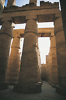 The Great Hypostyle Hall at Karnak in Luxor. The size of these columns is understood only when you know that it takes six adults to stretch their arms round a column's girth, they are between 50 and 69 feet tall and it has been calculated that a crowd of 50 people could stand on one of the column tops.