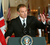 Washington, D.C. - July 28, 2006 -- United States President George W. Bush and Prime Minister Tony Blair of Great Britain hold a joint press conference in the East Room in the White House on July 28, 2006.  They discussed ideas to broker a cease-fire between Israel and Hezbollah in Lebanon..Credit: Ron Sachs / CNP