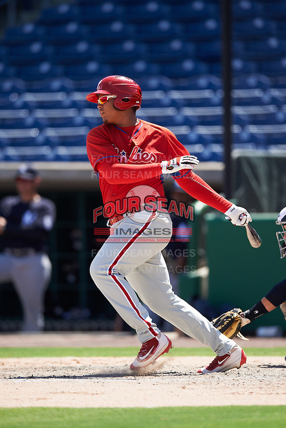Philadelphia Phillies Jhailyn Ortiz (13) during an Instructional League game against the New York Yankees on September 27, 2016 at Bright House Field in Clearwater, Florida.  (Mike Janes/Four Seam Images)